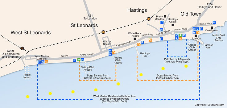 Map Of Hastings Beach Amp Seafront
