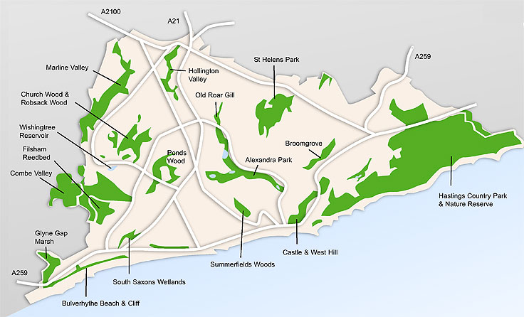 Green Spaces Map Hastings And St Leonards East Sussex Uk